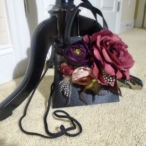 Black Poly Satin Flowers & Feathers Purse
